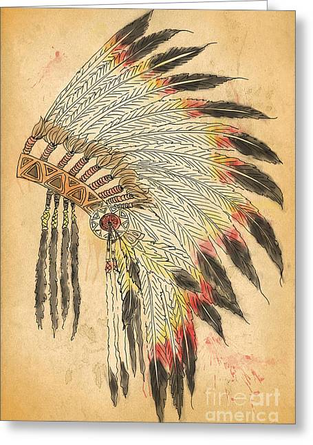 Pen Mixed Media Greeting Cards - Indian Head Dress-B Greeting Card by Jean Plout