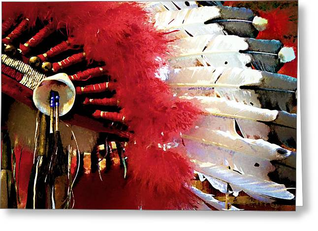 Pow Greeting Cards - Indian Headdress Greeting Card by Julie Palencia