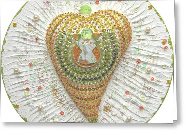 Shine Reliefs Greeting Cards - Indian Heart Angel Greeting Card by Heidi Sieber