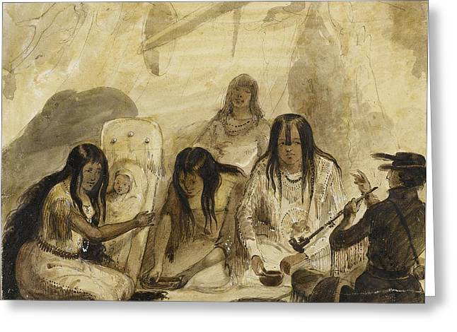 Conversing Paintings Greeting Cards - Indian Hospitality - Conversing With Signs Greeting Card by Alfred Jacob Miller
