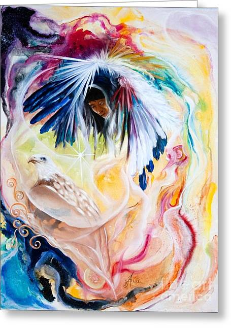 Native American Spirit Portrait Paintings Greeting Cards - Native american Indian Spirit  Greeting Card by  ILONA ANITA TIGGES - GOETZE  ART and Photography