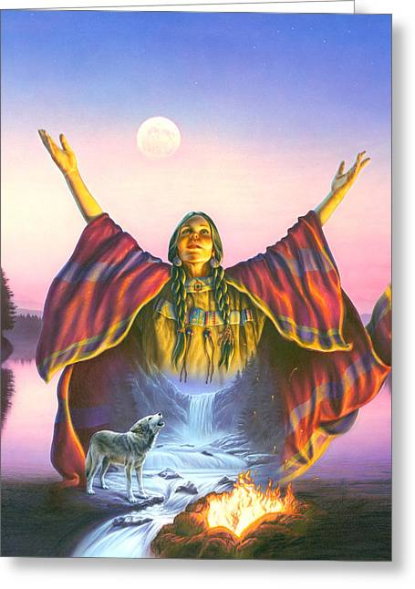 Stream Greeting Cards - Indian Invocation Greeting Card by Andrew Farley