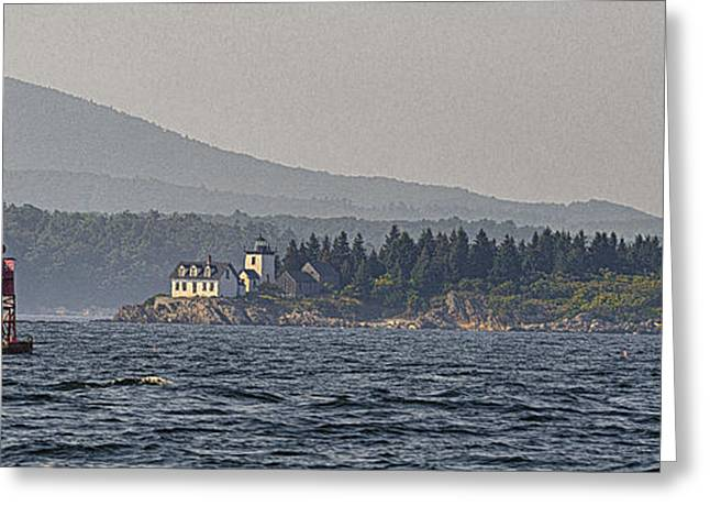 Schooner Greeting Cards - Indian Island Lighthouse - Rockport - Maine Greeting Card by Marty Saccone