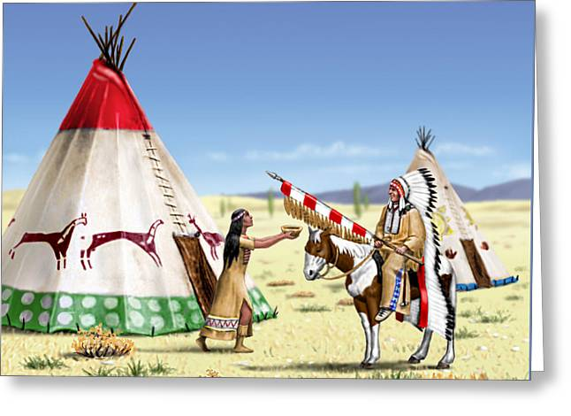 Native American Indian Maiden And Warrior Greeting Card by Walt Curlee