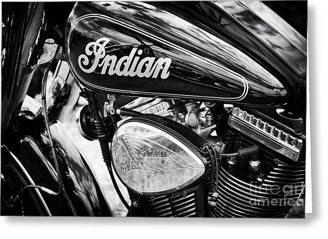Monochrome Greeting Cards - Indian Chief Motorbike Monochrome Greeting Card by Tim Gainey