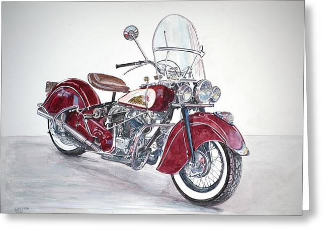 Indian Motorcycle Greeting Card by Anthony Butera