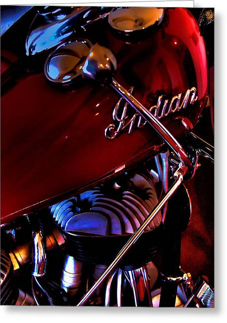 David Patterson Greeting Cards - Indian Motorcycle Greeting Card by David Patterson