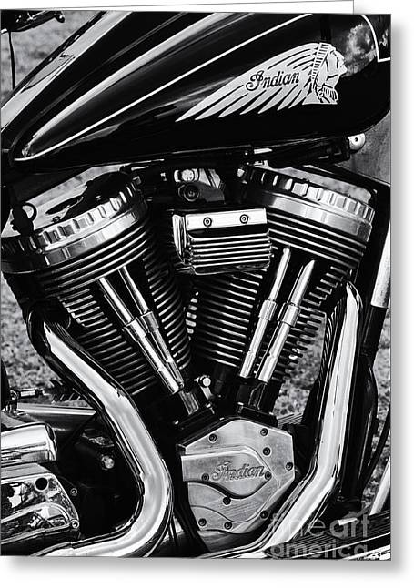 V Twin Greeting Cards - Indian Motorcycle Monochrome Greeting Card by Tim Gainey