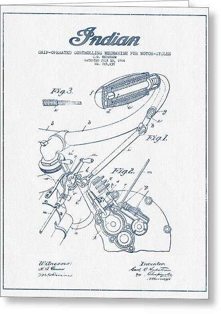 Chopper Greeting Cards - Indian motorcycle Patent From 1904 - Blue Ink Greeting Card by Aged Pixel