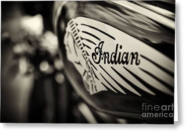 Indian Chief Greeting Cards - Indian Motorcycle Sepia Greeting Card by Tim Gainey
