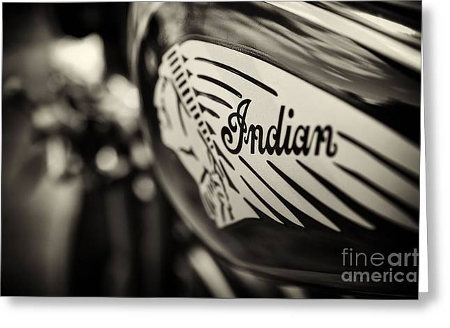 Shallows Greeting Cards - Indian Motorcycle Sepia Greeting Card by Tim Gainey