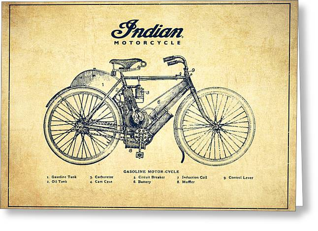 Chopper Greeting Cards - Indian motorcycle - Vintage Greeting Card by Aged Pixel