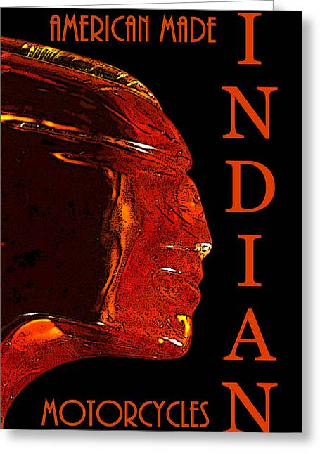 Smart Digital Art Greeting Cards - Indian Motorcycles chief head B Greeting Card by David Lee Thompson