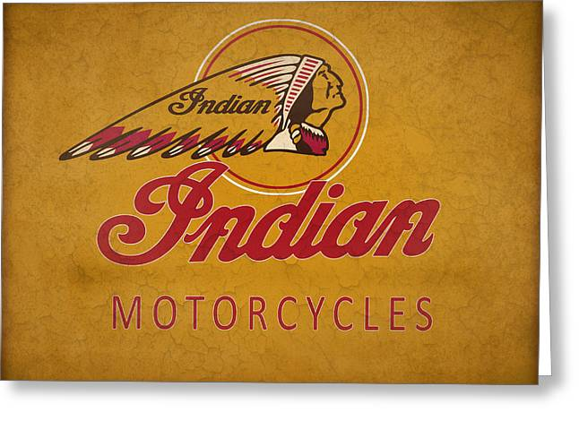 Indian Motorcycles Greeting Card by Mark Rogan