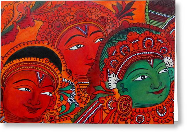 Kerala Murals Greeting Cards - Indian Mural Art Greeting Card by Reshma Roy