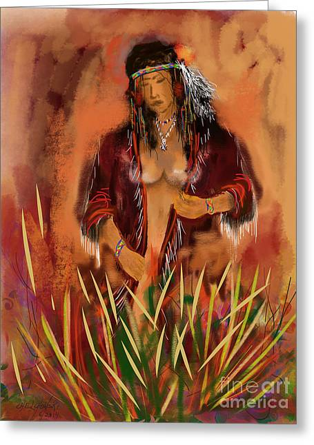 Native American Nude Woman Greeting Cards - Indian Nude Greeting Card by Miroslaw  Chelchowski