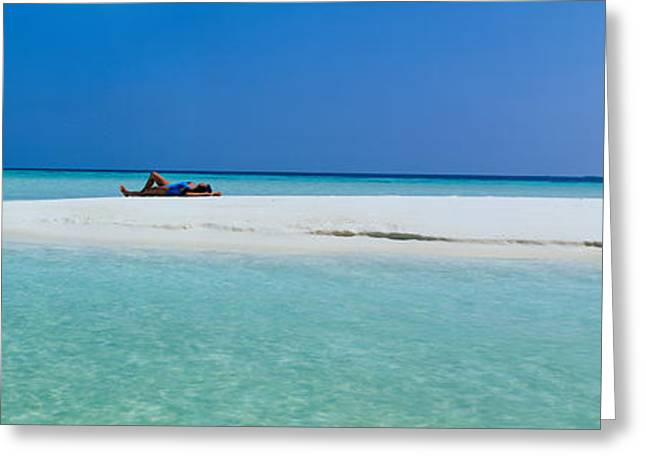 Sunbathing Greeting Cards - Indian Ocean Maldives Greeting Card by Panoramic Images