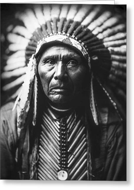 1905 Greeting Cards - Indian of North America circa 1905 Greeting Card by Aged Pixel