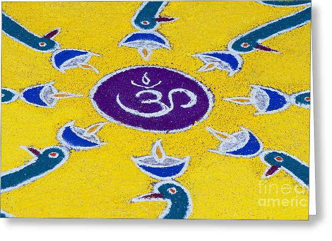 Indian Art Greeting Cards - Indian OM Rangoli festival design Greeting Card by Tim Gainey