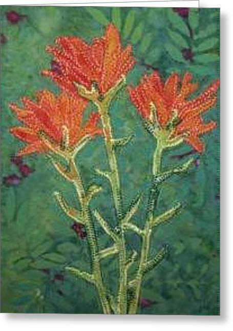 Freed Tapestries - Textiles Greeting Cards - Indian Paintbrush Postcard Greeting Card by Jenny Williams