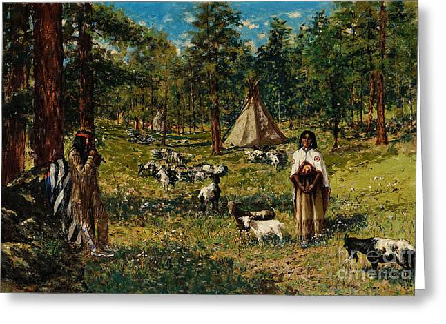 Haunted Shack Greeting Cards - Indian Pastoral Greeting Card by Celestial Images