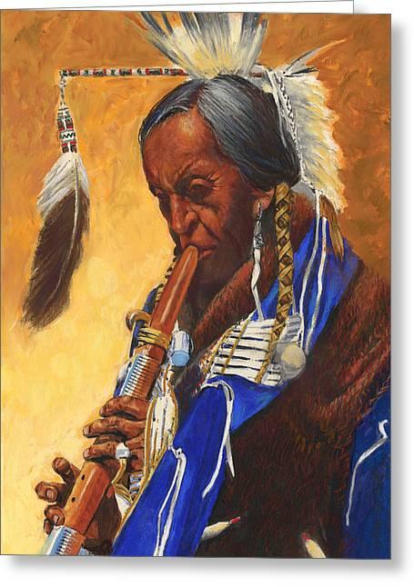 St. Louis Missouri Greeting Cards - Indian Playing Flute Greeting Card by Don  Langeneckert