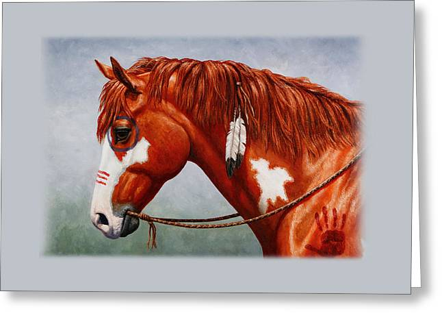 Pinto Greeting Cards - Indian Pony War Horse iPhone Case Greeting Card by Crista Forest