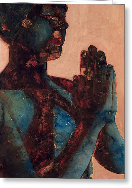 Praying Hands Paintings Greeting Cards - Indian Prayer Greeting Card by Graham Dean