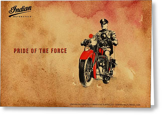 Police Motorcycles Greeting Cards - Indian Pride of the Force Greeting Card by Mark Rogan