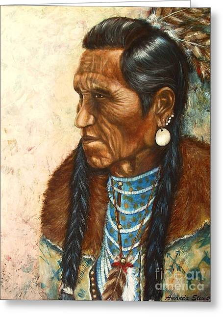 Commanche Greeting Cards - Indian Profile Study Greeting Card by Amanda  Stewart