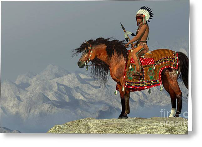 Gatherers Greeting Cards - Indian Proud Eagle Greeting Card by Corey Ford