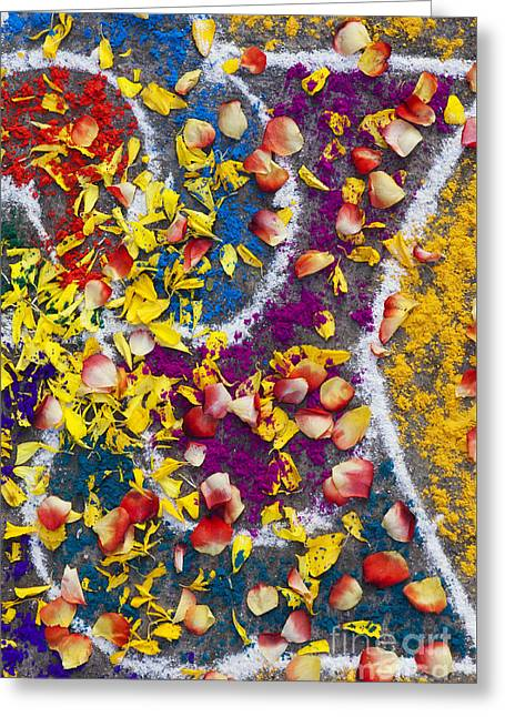 Indian Rangoli With Flower Petals Greeting Card by Tim Gainey