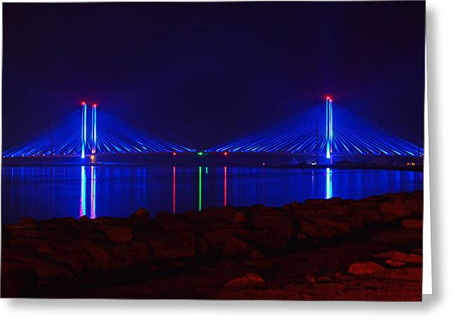 Indian River Inlet Bridge After Dark Greeting Card by Bill Swartwout