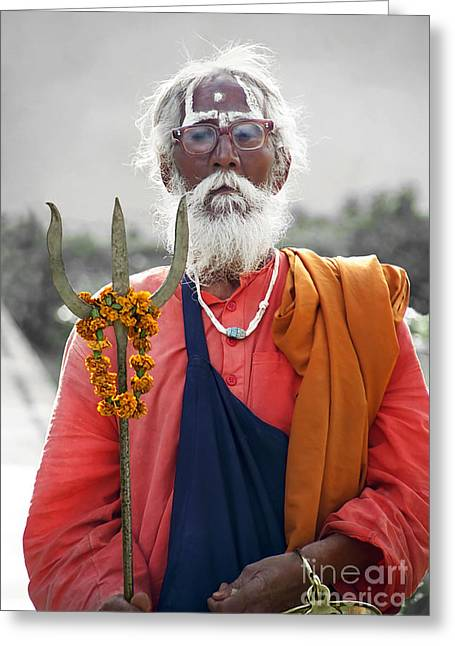 Colorkey Digital Greeting Cards - Indian Sadhu Carries the God Shiva Symbol Trident Greeting Card by Gabriele Pomykaj