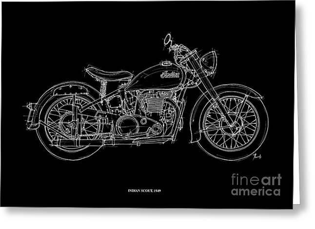 Motorcycle Pastels Greeting Cards - Indian Scout 1949 Greeting Card by Pablo Franchi
