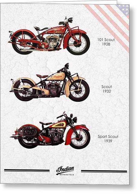 Motorcycle Art Greeting Cards - Indian Scout Trio Greeting Card by Mark Rogan