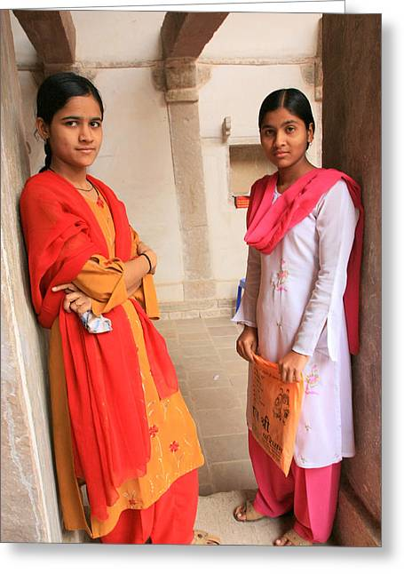 Indian Sewing Students Greeting Card by Amanda Stadther