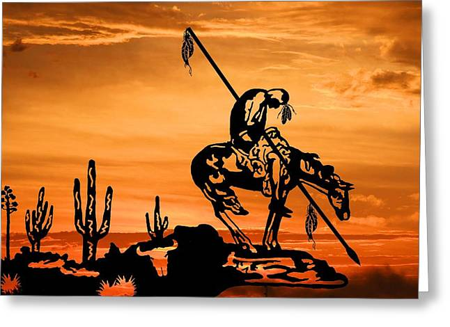 Indian Sunset Greeting Card by Bobby Blanton
