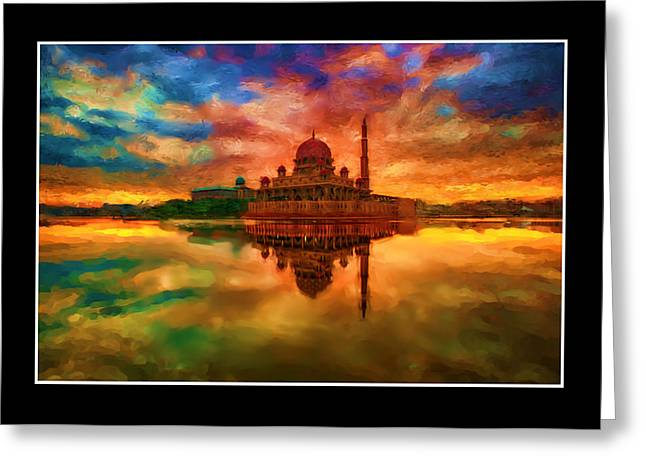 Van Gogh Style Greeting Cards - Indian Temple Mosque Greeting Card by Mario Carini