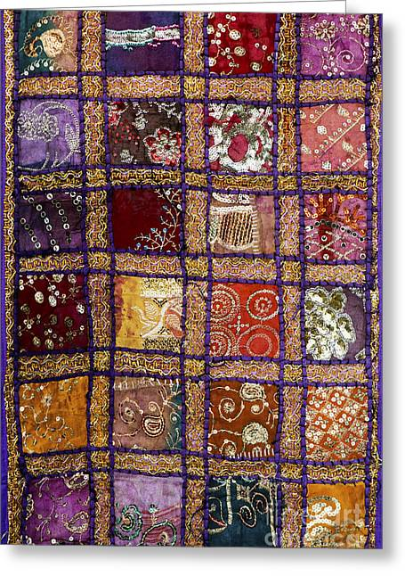 Gold Cloth Greeting Cards - Indian textile wall hanging Greeting Card by Tim Gainey