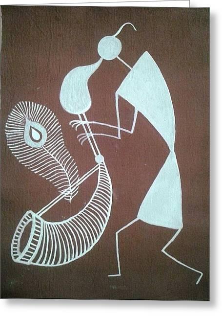 Playing Musical Instruments Greeting Cards - Indian Tribal Tarpa Player Greeting Card by Kalpeshkumar Patel