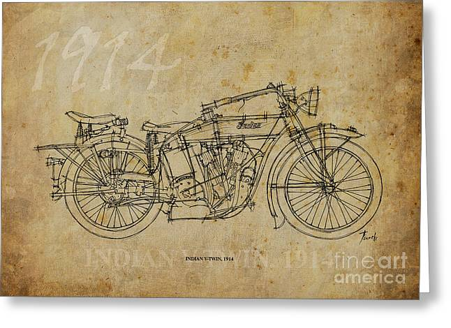 Handmade Drawings Greeting Cards - Indian V-twin 1914 Greeting Card by Pablo Franchi