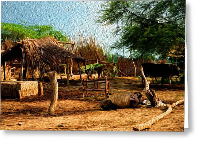 Indian Village Greeting Card by Deepti Chahar