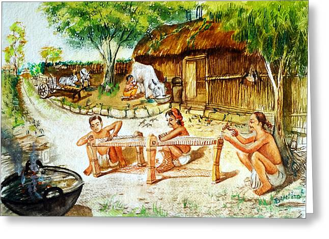 Austria Greeting Cards - Indian Village Life-1 Greeting Card by Bhanu Dudhat