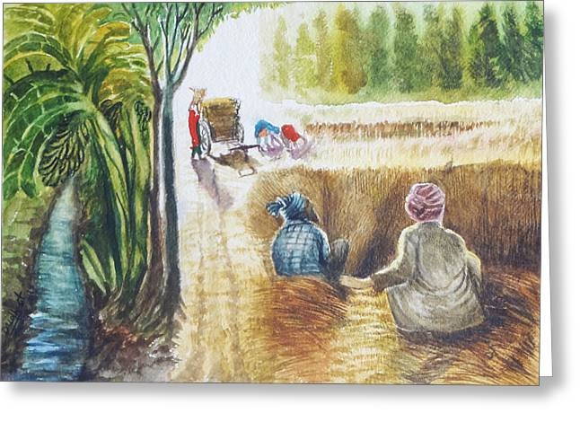 Frame Greeting Cards - Indian Village Life - 12 Greeting Card by Bhanu Dudhat