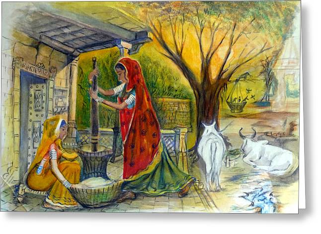 Austria Greeting Cards - Indian Village Life - 13 Greeting Card by Bhanu Dudhat