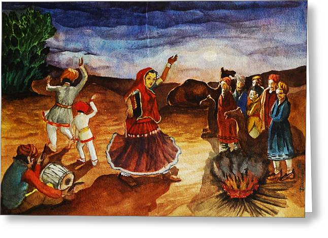 Austria Greeting Cards - Indian Village Life - 3 Greeting Card by Bhanu Dudhat