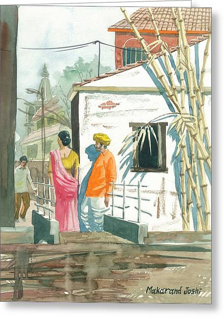 Bamboo House Greeting Cards - Indian village scene with bamboos Greeting Card by Makarand Joshi