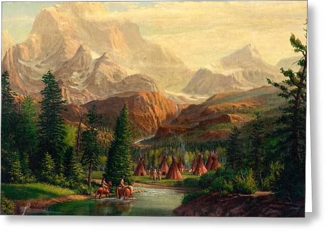 Tipis Greeting Cards - Indian Village Trapper western mountain landscape oil painting - Native Americans -Square Format Greeting Card by Walt Curlee