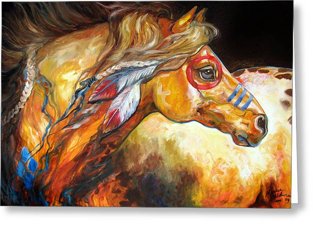 Original Oil Paintings Greeting Cards - Indian War Horse Golden Sun Greeting Card by Marcia Baldwin
